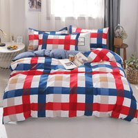 Wholesale orange brown queen comforter set for sale - Group buy 3 Luxury Stripe Duvet Cover Set Twin Full Queen King Size Multicolor Plaid Brief Bedding Sets Comforter Cover Pillow cases