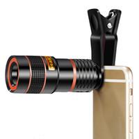lente telescópica zoom 8x venda por atacado-Clipe universal 8x 12x zoom lente do telefone celular teleobjectiva telescópio lente da câmera do smartphone externo para iphone samsung huawei pda