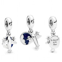 silberhimmel blaue perle großhandel-New Authentic 100% 925 Sterling Silber Perlen Blue Sky Charm Propeller Aircraft Charms Pandora Armbänder Diy Frauen Schmuck