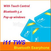 auricular de control azul al por mayor-i11 tws auriculares inalámbricos bluetooth 5.0 ture auriculares estéreo auriculares auriculares inalámbricos con control táctil SIRI para smartphones cuadro azul