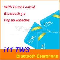 fone de ouvido de controle azul venda por atacado-i11 tws fones de ouvido sem fio bluetooth 5.0 ture estéreo fones de ouvido fones de ouvido sem fio fones de ouvido com controle de toque SIRI para smartphones caixa azul