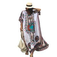 ingrosso donne di costumi etnici-Plus Size Donna Estate Stampa etnica africana Caftano Bikini Cover up Spiaggia Abito maxi Costume da bagno Costumi da bagno Donna Robe De Plage