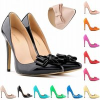 düğün için şampanya danteli ayakkabılar toptan satış-11cm Women High Heel Pump Shoes Pointed Toe Slip On PU Wedding Bridal Shoes Wedding Party Formal Occasion Pumps