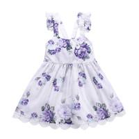 volante de encaje al por mayor-2019 New Girls summer halter flower dress 1-6T Kids lace flouncing sin mangas púrpura floral suspender falda ins hot