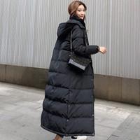 Womens giacca invernale inverno caldo cappotto lungo Spesso Bianco anatra piumino donna con cappuccio e giacca Parka lungo Puffer