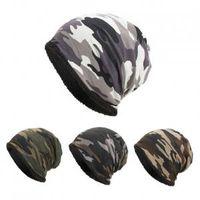 tığ işi şalvarlık şapka toptan satış-Kamuflaj Tığ Kap 4 Renkler Camo Baggy Kış Yün Kayak Beanie Kafatası Kapaklar Kayak Yürüyüş Parti Şapkaları OOA6178