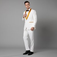 Wholesale new style wedding suit image resale online - 2019 New White Paisley tuxedos Wool Herringbone wedding suits for men British style custom made Mens suit slim fit Blazer Suit Pant