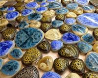 Wholesale interior floor tiles resale online - Pebble mosaic tiles PPMT080 porcelain flooring tiles ceramic heart shape mosaics bathroom wall tiles