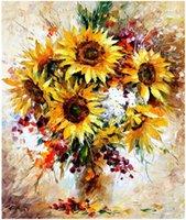 yağ soyut resim ayçiçeği toptan satış-Yetişkin El Boyalı Kitleri Boya DIY Boyama By Numbers Yağlı Boya-Soyut ayçiçeği 16