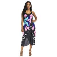 vestido de playa de gran tamaño al por mayor-Imprimir Wrap Slip Vestido de playa 2019 Ropa de playa de verano Túnicas de mujer Sarongs Boho Cover Dress Robe Butterfly Tamaño grande