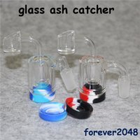 montagem de bong venda por atacado-Ashcatcher de vidro do coletor da cinza da montagem 14mm com o recipiente do silicone Banger de quartzo ou a bacia cabida fot para fumar o tubo de água de vidro de Bong