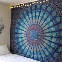 couvre-lit en tapisserie achat en gros de-Nouveau Mandala Tapisserie Hippie Accueil Décoratif Tenture Murale Bohême Tapis De Plage Tapis De Yoga Tapis De Lit Table Cloth 210x148CM