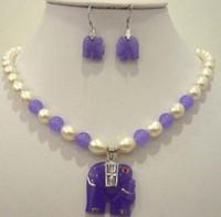 perlenkette jade anhänger großhandel-Weiße Perle Lila Natürlicher Jade Elefant Anhänger Halskette Ohrring Set