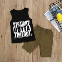Wholesale two piece summer boys clothes for sale - Group buy Baby Kids Clothing Set Summer Letter Printed Veat Tops Solid Shorts Two Piece Sets Kids Casual Clothes Boys M T