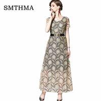 avrupa iş elbisesi toptan satış-SMTHMA 2019 Yeni Maxi Elbiseler Kadın Yeni Avrupa Hollow Out Dantel Vestidos Femme Çalışma Casual Slim Seksi Kısa kollu Uzun Elbise
