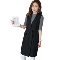 yaka yaka yelek toptan satış-Kadın Yelek Bahar Yeni Moda Ince Blazer Rahat Yelek Standı Yaka Uzun Elbise Yelek Kadın Ceket Kaban Cepler Ofis Lady