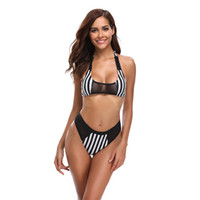 biquíni despojado venda por atacado-New Stripped Biquíni Mulheres Swimsuit Malha Patchwork Maiô S-XL Cintura Alta Halter Swimwear Menina Backless Beachwear Bikini