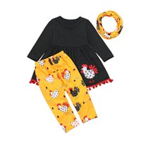 Wholesale baby thanksgiving shirt for sale - Group buy Thanksgiving Baby Clothes Set Turkey T shirt Dress Pants Scarf Outfits Set Girl Turkey Embroidery Dress Pants Sets