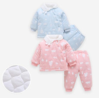 Wholesale drop ship baby clothing resale online - High quality New born Baby winter thick cotton suit month new baby clothes suit drop ship