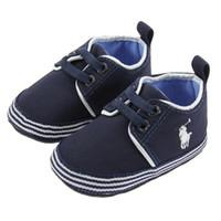 zapatillas de lona con cordones de bebé al por mayor-Zapatos de bebé Suela suave Lona Recién nacida Niños Niñas con cordones Zapatos para caminar primero Zapatillas de deporte Prewalker infantiles