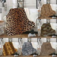 mantas de colcha al por mayor-12 estilos lepard impreso manta oficina de coche 3D mantas de invierno pañales ropa de cama edredón manta siesta alfombra de Navidad 150 * 130 cm FFA2868