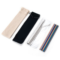 plier les tuyaux achat en gros de-Stainless Steel Straw Set Titanium-plated Colored Metal 304 Color Straight Pipe Bend Drink Giveaway Straw Customization EEA1249-4