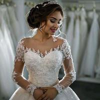 Wholesale michael cinco for sale - Group buy Luxurious Lace Appliques Michael Cinco Castle Church Wedding Dresses A Line D Floral Adorned Beaded Cathedral Train Bridal Gowns