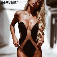 68e8b63b56ca Wholesale transparent one piece swimsuits for sale - Beavant Push Up  Transparent Sexy Bodysuit Women Patchwork