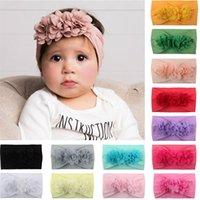 saç taç yaprakları toptan satış-Çocuklar Kız Bebek Saç Baş Bandı Kafa Aksesuar Şapkalar bebek Bebek kız Mesh Petal Dantel Çiçek