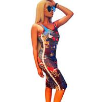 sıska bez toptan satış-Tasarımcı Kadınlar Kolsuz Elbiseler Bodycon Etek NK Çiçek Sıska Sıkı Tank Yelek Kısa Elbiseler Parti Kulübü Tek parça Bez 2019 C62802