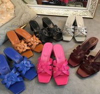 estilos de chinelos venda por atacado-Nova Mulher de Vermelho Amarelo Roma Estilo de Couro de Patente Hipput Chinelos Sapatos de Salto Alto de Luxo Projetado Senhora Desliza Sapatos Casuais Ao Ar Livre
