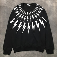 Wholesale xxl hoodies hip hop for sale – custom Luxury Hoodie Sweatshirt Hip Hop Fashion Black White Lightning Printing Hoodies Men Women Designer Hoodie Long Sleeve Size S XXL