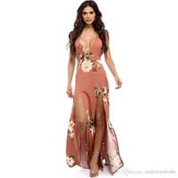 Donne Sexy abiti lunghi a fiori Estate Spaghetti Strap Deep scollo a V  spacco Backless Design Bohemian Beach Dress de00f648b00