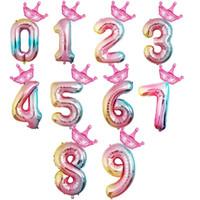 parti malzemeleri kronlar toptan satış-Degrade Numarası Metalik Balonlar Bebek Doğum Günü Parti Malzemeleri Taç Balon Süslemeleri Çocuk Bir Yaşındaki Kutlamak 2 7 mz O1