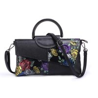 Wholesale chinese bag designers resale online - floral shoulder bags for women genuine leather purses and handbags cow leather women bag luxury designer ladies crossbody bags