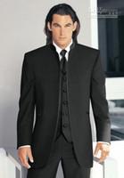 больше мужских костюмов оптовых-Новые более популярным Черный Стенд Воротник Groom Tuxedos Groomsmen Мужчины Свадебные костюмы Пром одежда (куртка + брюки + жилет + Tie) 4180
