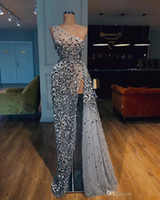 Wholesale white beaded split prom dress for sale - Group buy Luxury Gray One Shoulder Mermaid Prom Dress Vintage Sparkly Sequined High Side Split Evening Gown Long Formal Party Pageant Dress