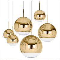 pendentif argent cuivre achat en gros de-Pendentif boule de verre moderne miroir lumière cuivre argent or Globe Loft Hanglamp lampe moderne cuisine luminaire