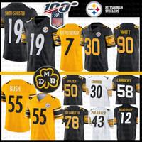 camisolas venda por atacado-19 Juju Smith-Schuster Pittsburgh Jersey Steelers 55 Devin Bush 7 Ben Roethlisberger James Conner Ryan Shazier Polamalu T.J. Watt Villanueva