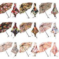 paraguas luces solares al por mayor-Japonés Ultra Ligero Paraguas Cilindro Flor Caja de regalo Lluvia Paraguas de protección solar Diosa Luz Verano Accesorios Paraguas