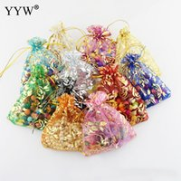 Wholesale organza rose gold bags resale online - 100pcs Colors Jewelry Bag x9cm Wedding Gift Gold Love Heart Rose Organza Bag Jewelry Packaging Display amp Jewelry Pouches