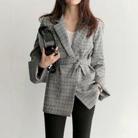 chaqueta de arco otoño al por mayor-Mujeres arco de la manera de los marcos de Split manga chaquetas otoño del resorte de la oficina de señora Mujeres tela escocesa gris Blazer elegantes chaquetas de trabajo Femme