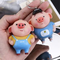 Wholesale rubber keychains cute resale online - Cartoon Pig Eight Rings Monkey Don Juan Keychains Car Key Mobile Phone Bag Cute Pendant Metal Wear Chain Fashion Accessories
