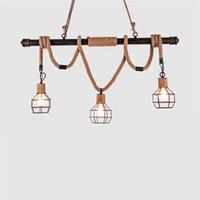 geführtes seillichtschlafzimmer großhandel-Retro LED Pendelleuchten Schlafzimmer Pendelleuchten Wohnzimmer Home Leuchten Restaurant Seil Hängelampen