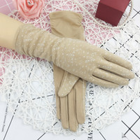 Wholesale fingerless sun protection gloves for sale - Group buy Summer Medium Long Cotton Gloves Women Short Driving Sun Protection Luvas Guantes Lady Non slip Touch Screen Thin Mittens H3107
