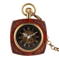 relógios de bolso de estilo antigo venda por atacado-Antique Red Carving Mão De Madeira Enrolamento Mecânico Relógio de Bolso com Corrente de Ouro aberto Tampa Retro Homens Relógio Presentes 2018 Novo Estilo
