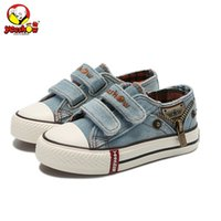 Wholesale new canvas jeans shoes for sale - Group buy Canvas Children Shoes New Spring Sport Breathable Boys Sneakers Brand Kids Shoes For Girls Jeans Denim Student Flats Y19051303
