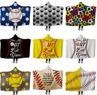 fleece-baseball-druck großhandel-Baseball Kapuze Decken Softball Fußball Rugby Sherpa Mantel Decke 3D Print Cape Fleece Strandtücher Handtuch Windeln GGA1852