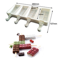 Wholesale cell popping resale online - New Design Cell Silicone Frozen Ice Cream Mold Juice Popsicle Maker Children Pop Mould Lolly Tray Kitchen Tools Wooden Sticks Tools