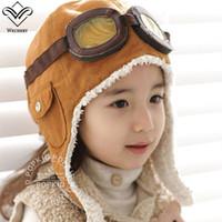 ingrosso occhiali da sole per bambini-Wechery Pilot Cap per bambini Winter Warm Hat con occhiali Retro Style Brown Black Beanie Soft Warm Cappelli Ragazzi Ragazze Acessories